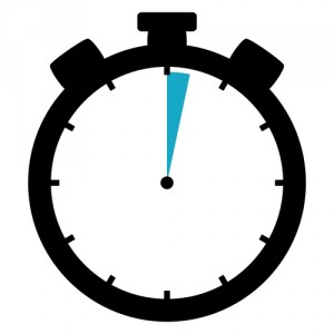 Black and blue Stopwatch icon showing 2 seconds or 2 minutes