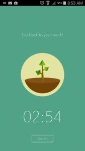 Forest heeft een rustig scherm met timer